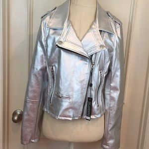 Blank NYC Silver Metallic Moto Jacket